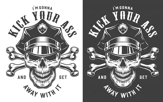 Concept d'emblème policier vintage