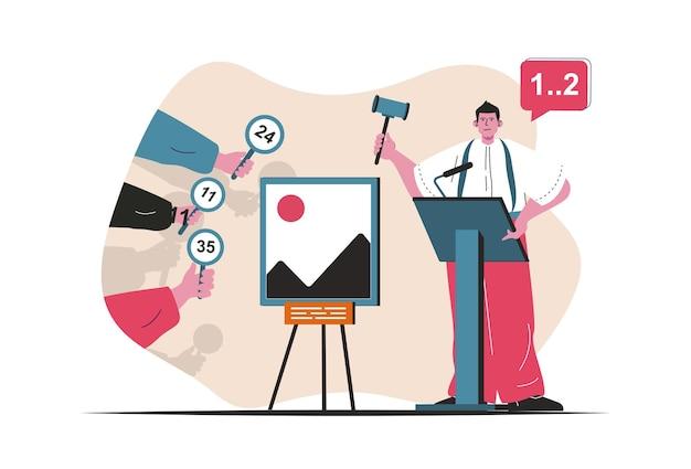 Concept d'enchères isolé. vente de lots de peinture, enchères et investissement dans l'art. scène de personnes en dessin animé plat. illustration vectorielle pour les blogs, site web, application mobile, matériel promotionnel.
