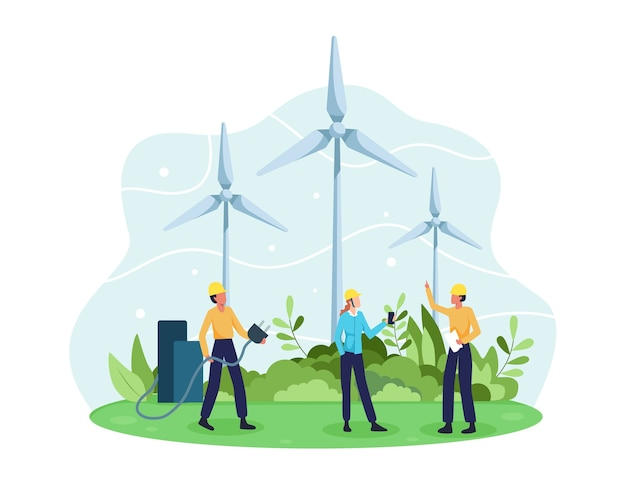 Concept d'énergie renouvelable. ressource d'énergie alternative avec moulins à vent rotatifs, éoliennes et personnage d'ingénieur. énergie verte et respectueuse de l'environnement. dans un style plat