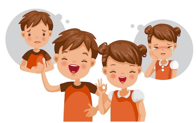 Concept d'enfant mental. souffrance et bonheur. se sentir à l'intérieur.