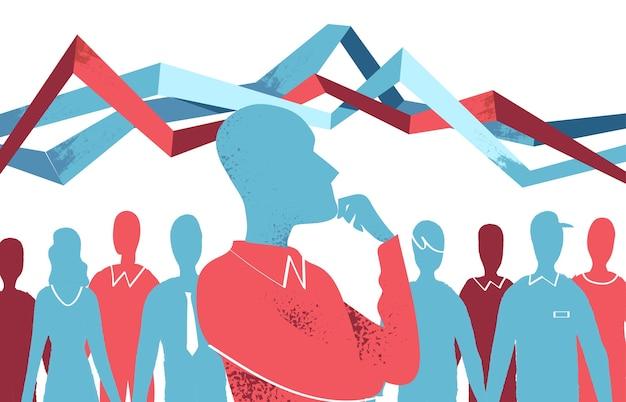 Concept d'enquête démographique. homme analysant les statistiques