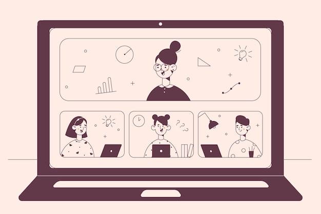 Concept d'enseignement à distance d'apprentissage en ligne