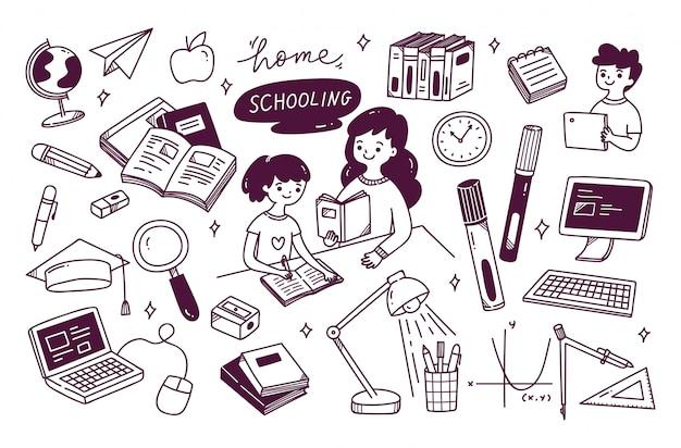 Concept d'enseignement à domicile doodle