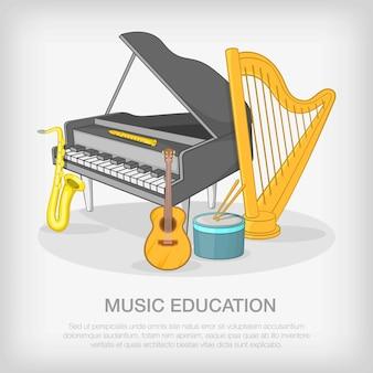 Concept d'ensemble musical, style cartoon