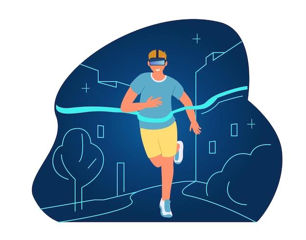 Concept d'entraînement et de sport vr running man in vr headset franchit la ligne d'arrivée