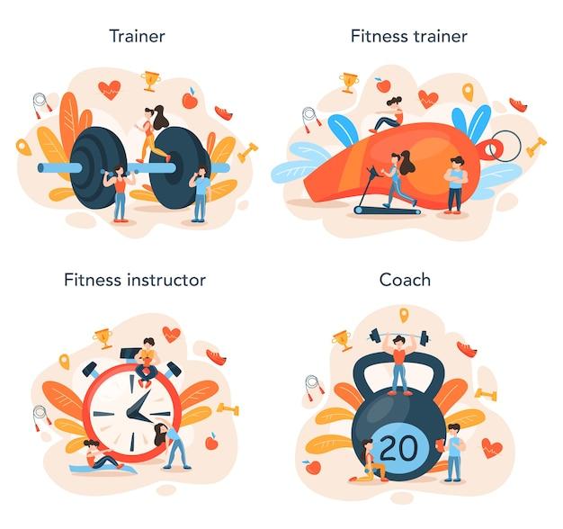 Concept d'entraîneur de remise en forme situé au design plat