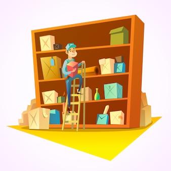 Concept d'entrepôt avec travailleur devant des étagères avec des marchandises
