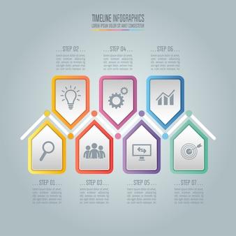 Concept d'entreprise avec 7 options, étapes ou processus.