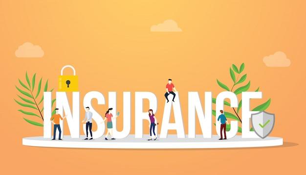 Concept d'entreprise d'assurance gros texte avec des personnes