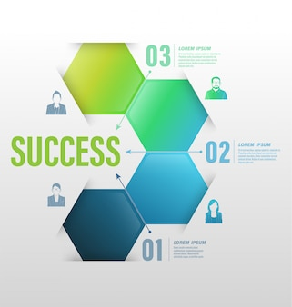Concept d'entreprise aux options de nombre de succès avec des icônes