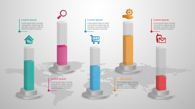 Concept d'entreprise de barres 3d infographique avec 5 options