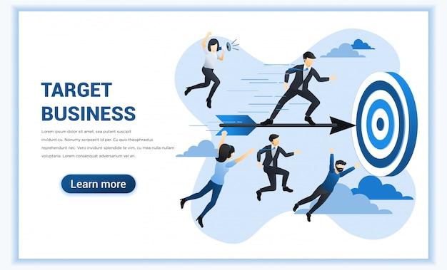 Concept d'entreprise cible avec l'homme d'affaires debout sur le vol de fléchettes pour atteindre l'objectif commercial.