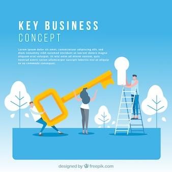 Concept d'entreprise clé avec un design plat
