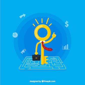Concept d'entreprise avec clé plate
