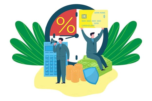 Concept d'entreprise. concept de banque d'affaires. les banquiers d'affaires attirent les clients pour des services bancaires, des cartes, des prêts et des dépôts rentables. illustration vectorielle pour la commercialisation de produits bancaires.