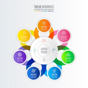 Concept d'entreprise de conception infographique avec 7 options.