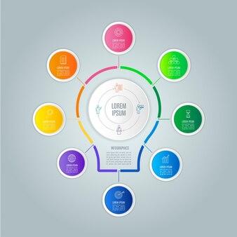 Concept d'entreprise de conception infographique avec 8 options.