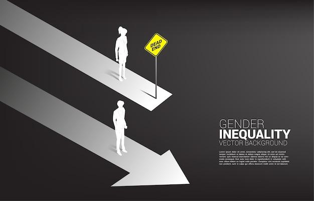 Concept d'entreprise de concurrence entre les sexes. silhouette d'homme d'affaires sur la voie en cours et les femmes d'affaires sur la voie du barrage routier .concept d'inégalité entre les sexes dans les affaires et obstacle dans le cheminement de carrière de la femme
