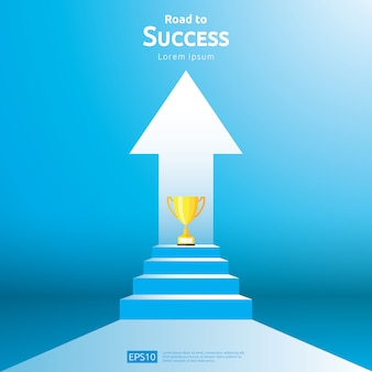 Concept d'entreprise avec coupe d'escalier et de trophée. flèche direction au vainqueur