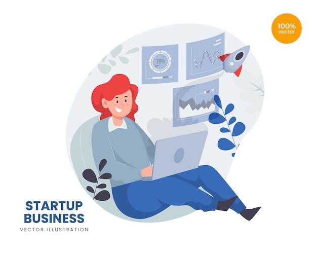 Concept d'entreprise de démarrage avec ordinateur portable femme et lancement de fusée