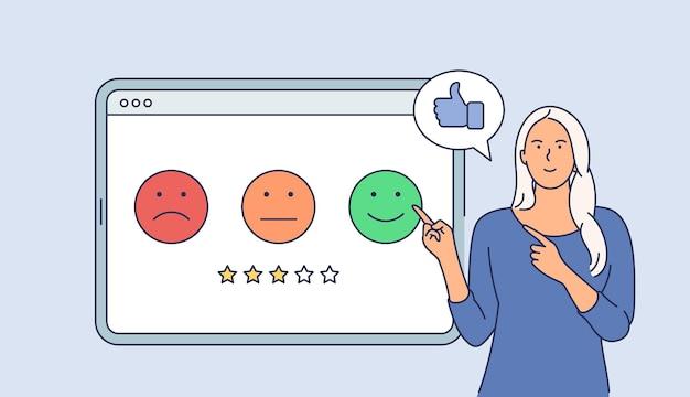 Concept d'entreprise d'enquête client. personnage de dessin animé jeune femme souriante heureuse donnant une note sur tablette. appartement