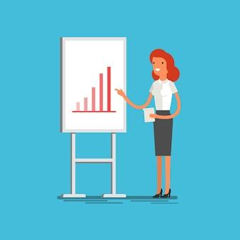 Concept d'entreprise. femme d'affaires de dessin animé faisant une présentation expliquant les graphiques sur un tableau blanc. design plat, illustration vectorielle.