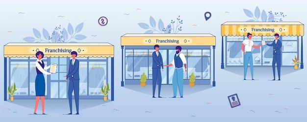 Concept d'entreprise de franchisage, magasin de vêtements ouvert.