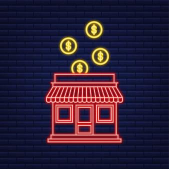 Concept d'entreprise de franchise, système de marketing de franchise. style néon. illustration vectorielle.