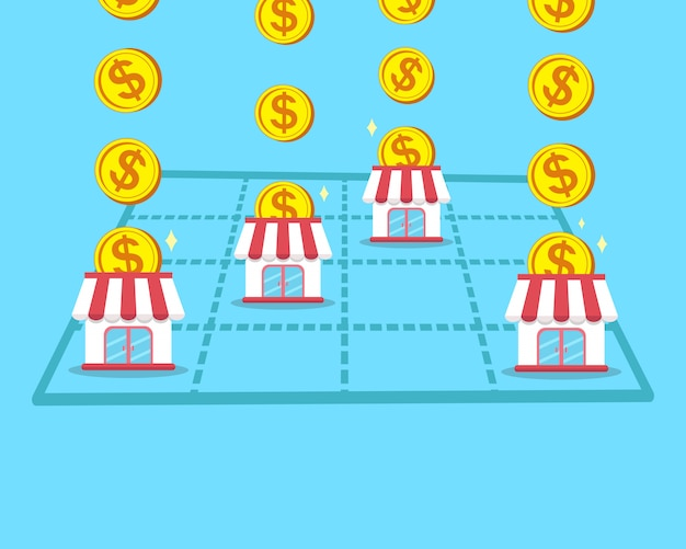 Concept d'entreprise gagner de l'argent avec un magasin franchisé