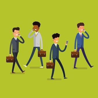 Concept d'entreprise. gens d'affaires de dessin animé marchant et parlant sur les téléphones portables. mode de vie moderne. design plat, illustration vectorielle.