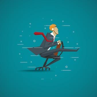 Concept d'entreprise, homme d'affaires assis sur la chaise déplacez le défi de course rapide.
