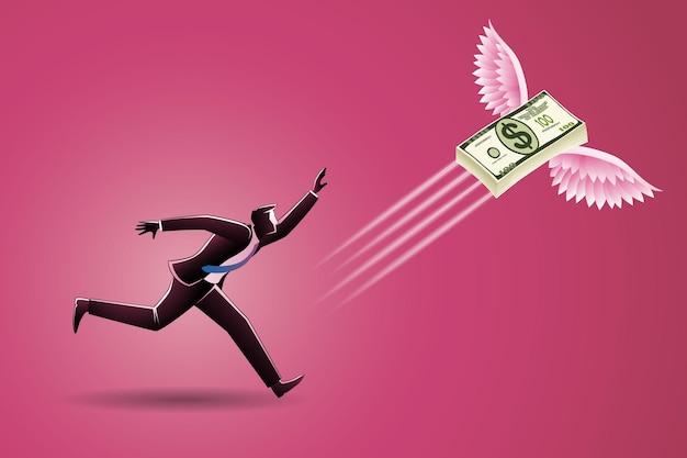 Concept d & # 39; entreprise, un homme d & # 39; affaires a couru pour chasser une liasse d & # 39; argent volant