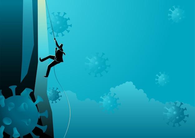 Concept d'entreprise d'homme d'affaires grimpant au sommet pendant la pandémie, illustration