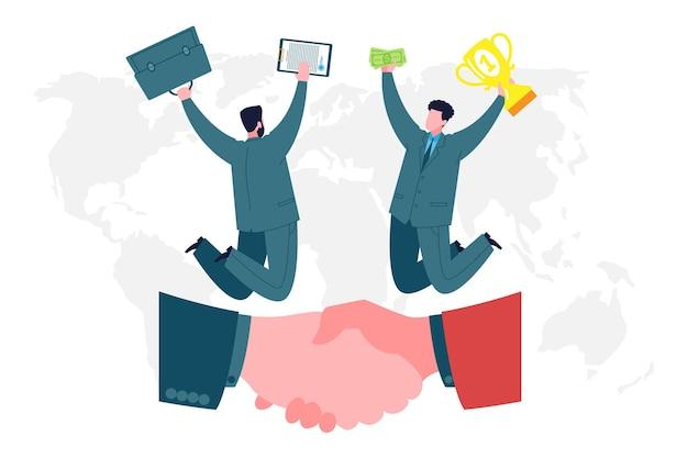 Concept d'entreprise. les hommes d'affaires et les partenaires se réjouissent du succès et des bénéfices grâce à un accord réussi. travail d'équipe, coworking, collaboration et partenariat commercial.