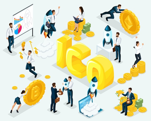 Concept d'entreprise ico blockchain infographique, extraction de crypto-monnaie, projet de démarrage, illustration