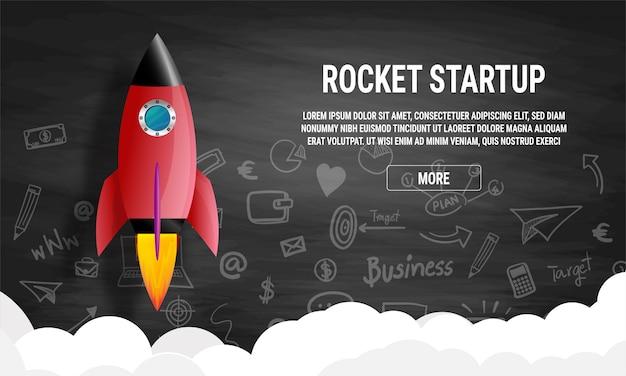 Concept d'entreprise idée de démarrage. fusée dans un vecteur plat