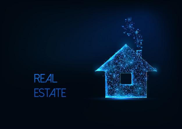 Concept d'entreprise immobilier futuriste avec maison d'habitation polygonale basse rougeoyante