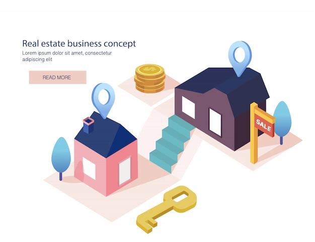 Concept d'entreprise immobilière avec maisons. maison à vendre, vente à tempérament, crédit, loyer.