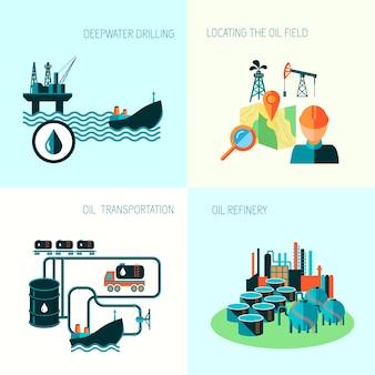 Concept d'entreprise de l'industrie pétrolière de la distribution de carburant essence diesel production et transport quatre éléments composition illustration vectorielle