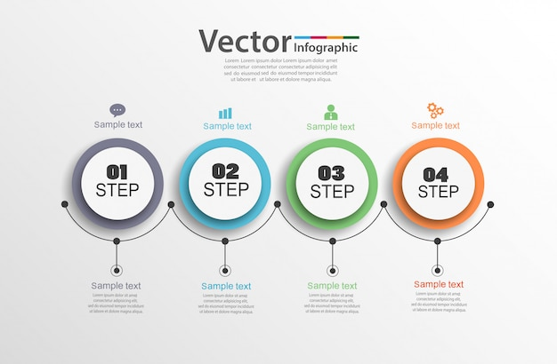 Concept d'entreprise infographique avec 4 étapes
