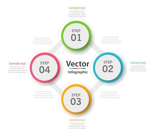 Concept d'entreprise infographique avec 4 options, pièces, étapes ou processus