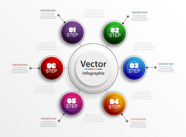Concept d'entreprise infographique avec étapes