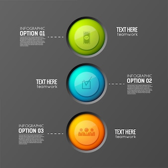 Concept d'entreprise infographique avec trois boutons ronds colorés reliés à des paragraphes de texte modifiables