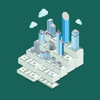 Concept d'entreprise d'investissement isométrique immobilier prix valeur valeur