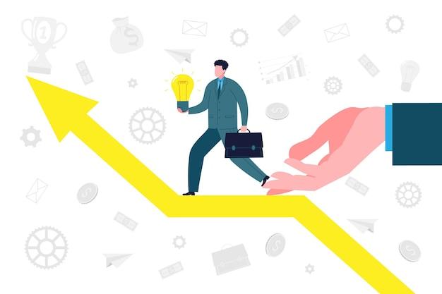 Concept d'entreprise. un investisseur ou un business angel soutient un aspirant entrepreneur avec une nouvelle idée pour démarrer une entreprise, surmonter les obstacles et atteindre le succès et les bénéfices. illustration vectorielle de démarrage