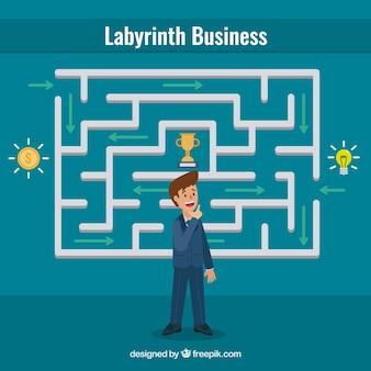 Concept d'entreprise avec labyrinthe plat