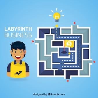 Concept d'entreprise avec labyrinthe et travailleur