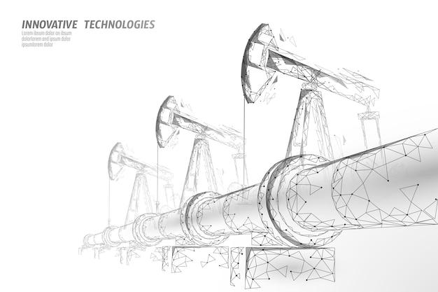 Concept d'entreprise low poly oléoduc. finance économie production d'essence polygonale. illustration de points de connexion de ligne de transport de l'industrie du carburant pétrolier blanc