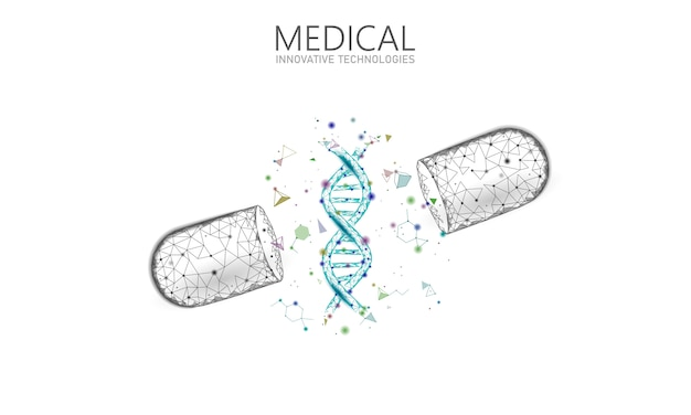 Concept d'entreprise de médecine capsule médicament ouvert. adn thérapie génique médicament bleu prébiotique balle probiotique soins de santé guérir la maladie. vitamine antibiotique nutrition médicale low poly illustration