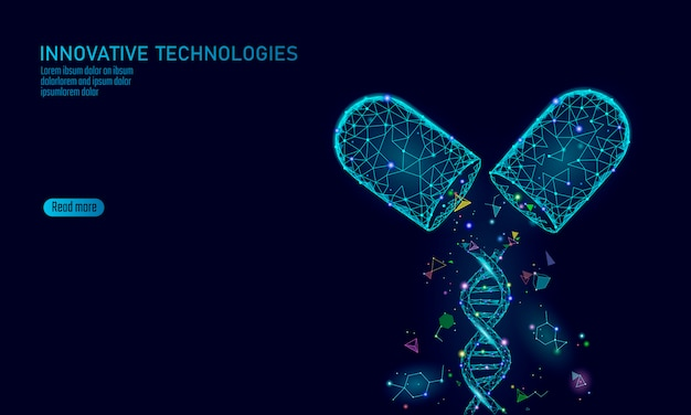 Concept d'entreprise de médecine capsule médicament ouvert. adn thérapie génique médicament bleu